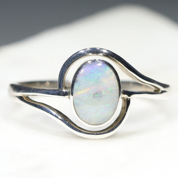 Australian Opal Ring Stirling Silver