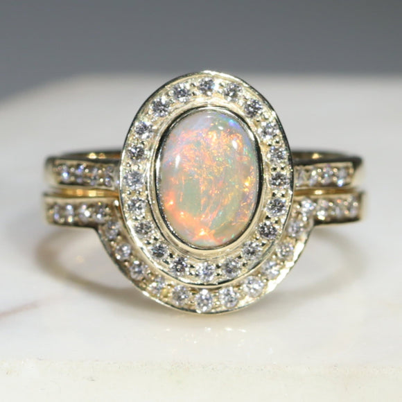 Opal Engagement and Wedding Gold Ring Set