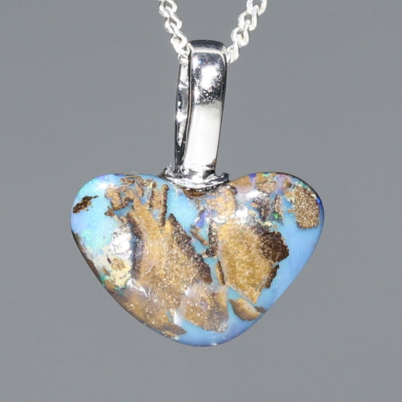 Heart Shape Australian Opal Silver Pendant with Silver Chain Code-SD161