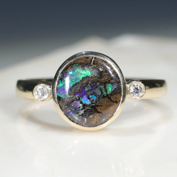 Boulder Opal Gold and Diamond Ring