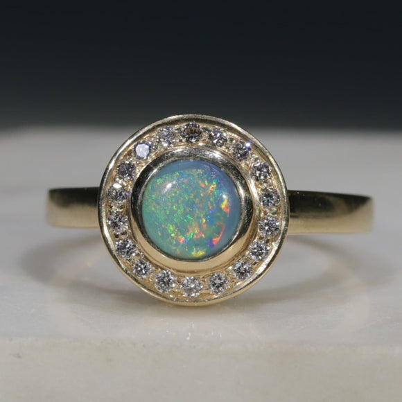 Natural Australian Solid Boulder Opal Gold and Diamond Ring
