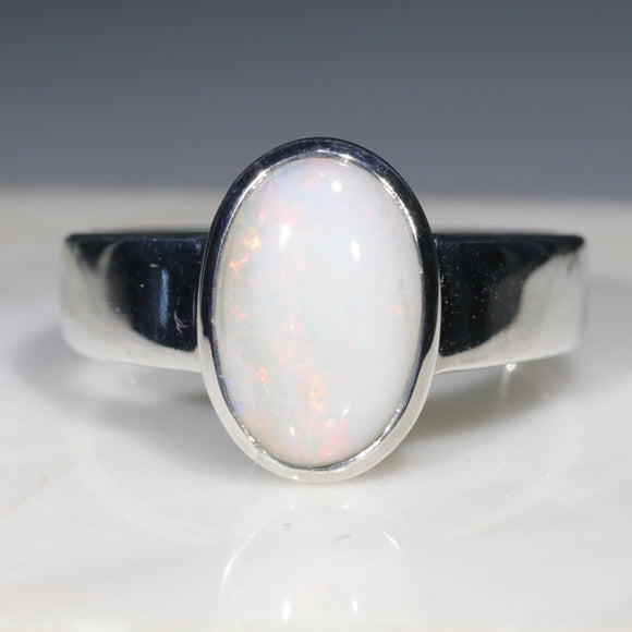 White Opal Ring Sterling Silver