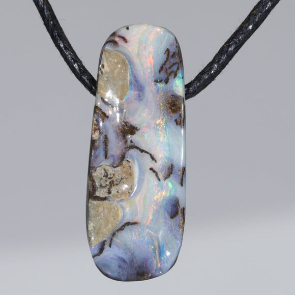 Solid Queensland Boulder Opal Side Drill Pendant