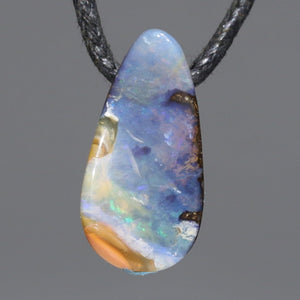 Natural Australian Solid Boulder Opal Side Drill Pendant