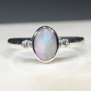 Silver Opal and Diamond Ring