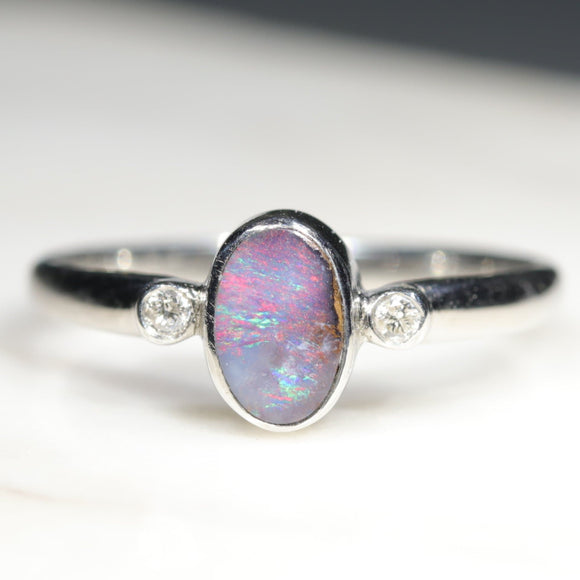 Natural Australian Solid Boulder Opal with Diamonds Silver Ring