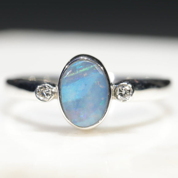 Natural Australian Solid Boulder Opal Silver Ring with Diamonds