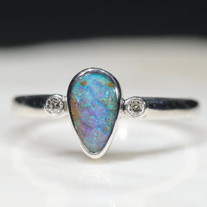 Natural Queensland Boulder Opal Silver and Diamond Ring