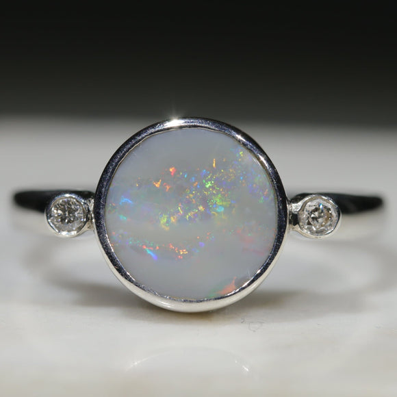 Natural Australian Coober Pedy Opal Silver Ring With Diamonds