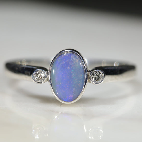 Natural Australian Solid Boulder Opal Silver and Diamond Ring