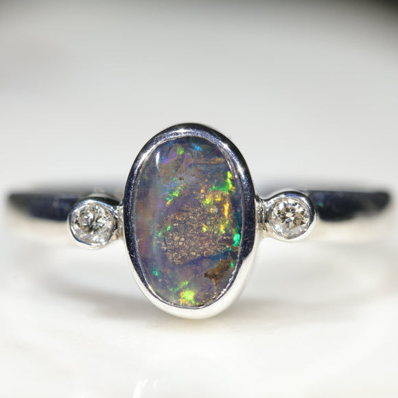Natural Australian Opal Silver and Diamond Ring