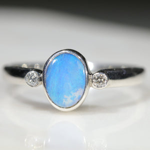 Natural Solid Queensland boulder Opal Silver and Diamond Ring