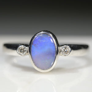 Natural Australian Boulder Opal and Diamond Silver Ring
