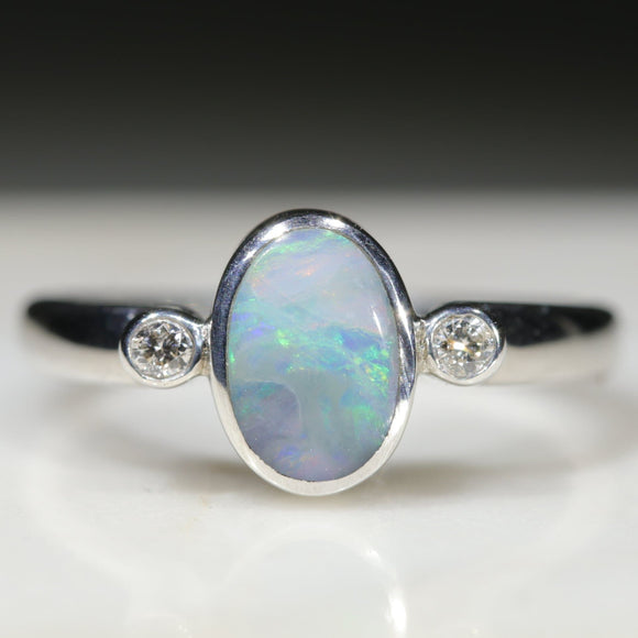 Natural Australian boulder Opal Silver and Diamond Ring