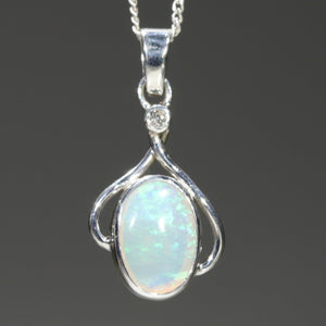 Natural Australian Crystal Opal Silver Pendant With Diamond