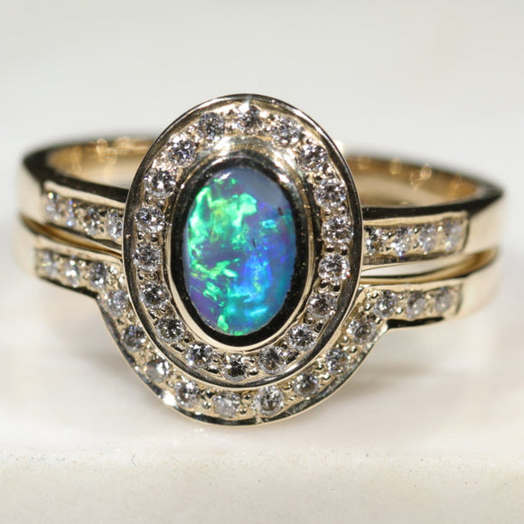 Natural Australian Solid Opal & Diamond Gold Engagement and Wedding Ring Set-  Size 7 Code- DWB4