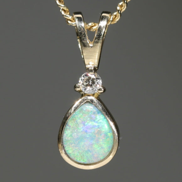 18k Gold Natural Boulder Opal Pendant with Diamond