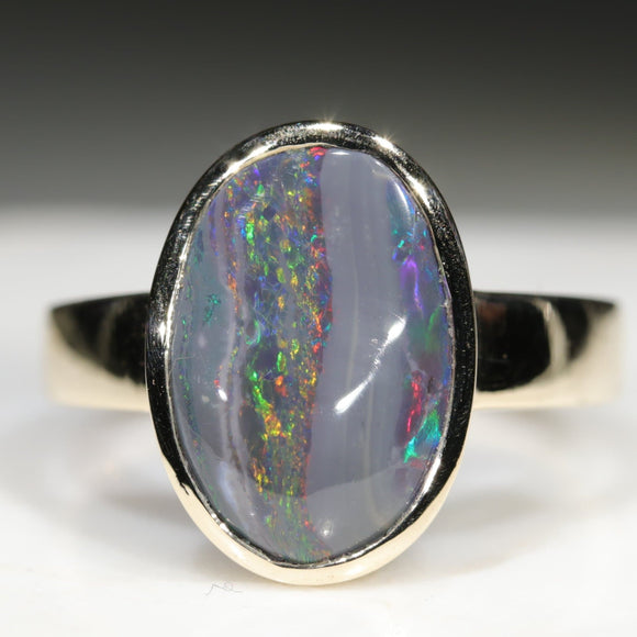 Black Opal Yellow Gold Ring