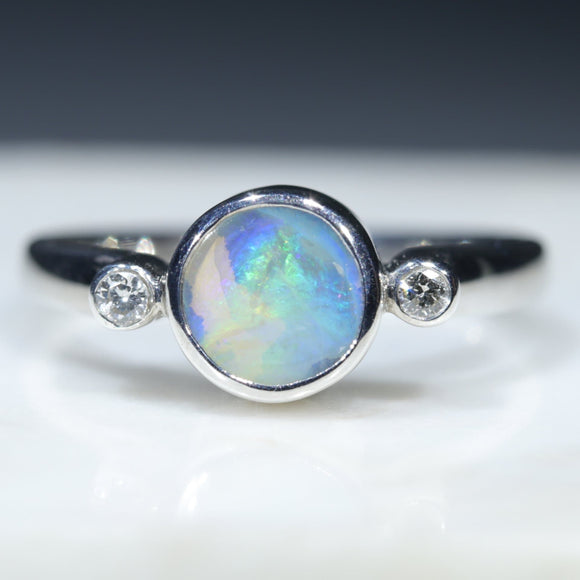 Natural Opal Silver and Diamond Ring