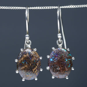 Natural Australian Boulder Matrix Opal Silver Earrings