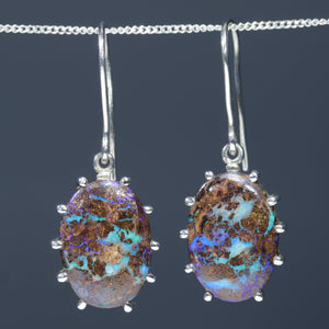 Natural Australian Solid Boulder Matrix Opal Silver Earrings