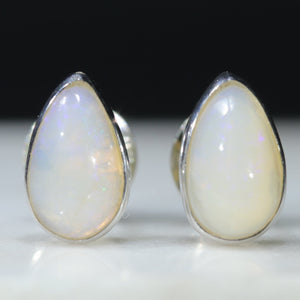 Natural Australian Queensland White Opal Silver Studs