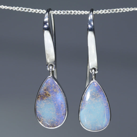 Natural Australian Solid Boulder Opal Silver Earrings