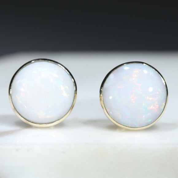 10k Gold Natural Australian White Opal Studs