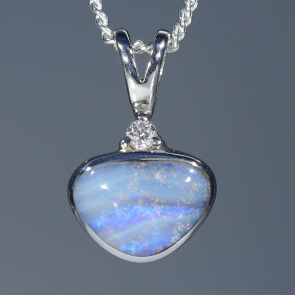 Natural Australian Opal Silver Pendant with Diamond