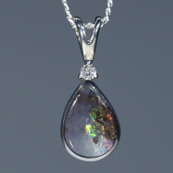 Natural Australian Boulder Opal Silver Pendant with Diamond