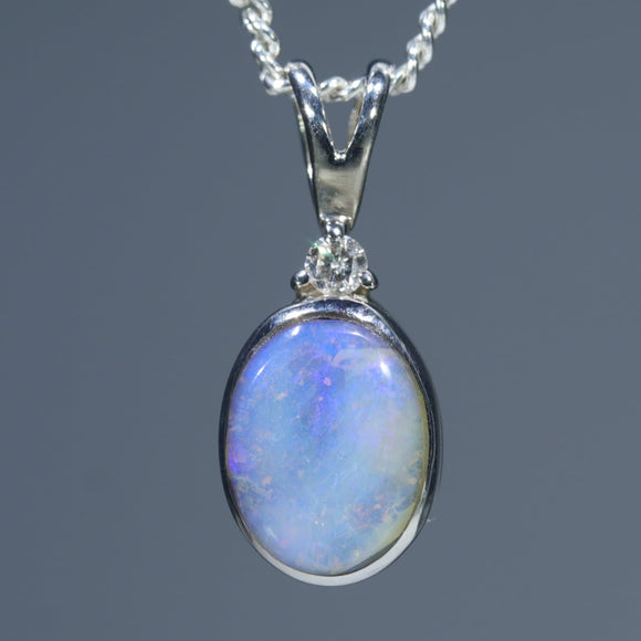 Natural Auatralian Boulder Opal Silver Pendant with Diamond
