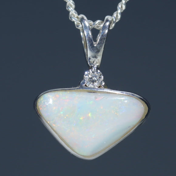 Natural Australian White Opal Silver Pendant with Diamond