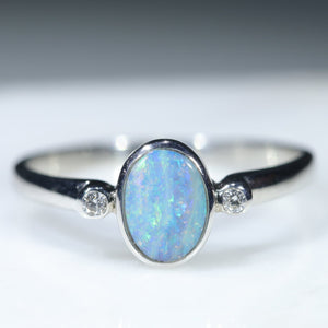 Natural Australian Silver Opal Ring with Diamonds