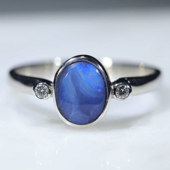 Natural Australian Opal Silver Ring with Diamonds