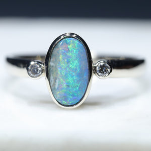 14k White Gold Natural Boulder Opal and Dimond Ring