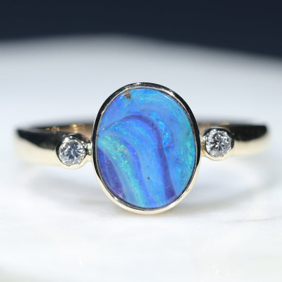 10k Gold Stunning Boulder Opal and Diamond Ring