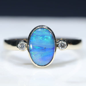 Natural Australian Boulder Opal and Diamond Gold Ring  - Size 6.5 Code - RL67
