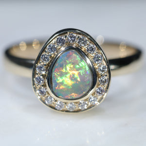 10k Gold Natural Australian Lightning Ridge Opal with Diamonds