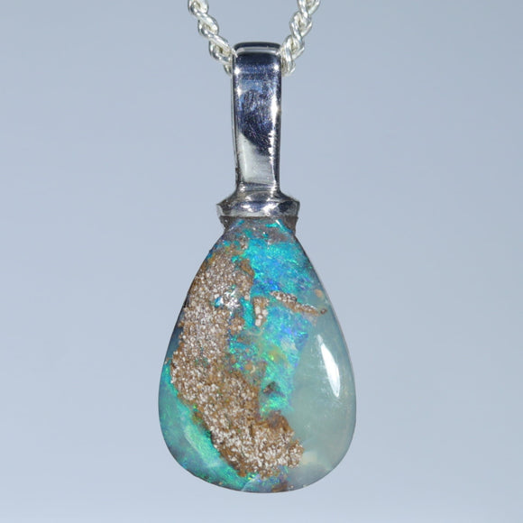 Australian Boulder Opal Silver Pendant with Silver Chain (12mm x 9mm) Code-SD219