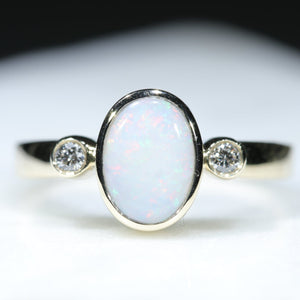 Natural White Opal Gold Ring