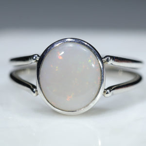 Natural Australian White Opal Silver Ring