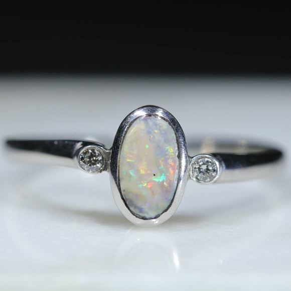 Natural Australian Boulder Opal Silver Ring with Diamonds