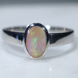 Natural Australian Solid Boulder Opal Silver Ring
