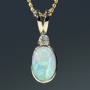 18k Gold Natural Australian Opal and Diamond Pendant