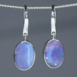 Natural Queensland Silver Opal Earrings