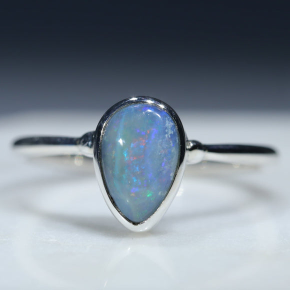 Natural Australian Silver Opal Ring