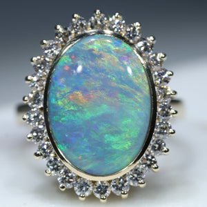 Natural Australian Semi Black 18k Gold Opal and Diamond Ring