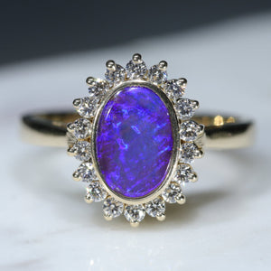 18k Gold Natural Boulder Opal and Diamond Ring