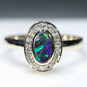 10k Gold Natural Black Boulder Opal and Diamond Ring