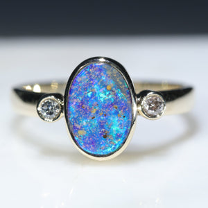 10k Gold Natural Australian Opal and Diamond Ring
